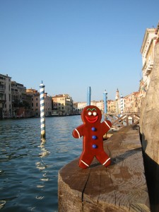 Venice, Mr. Happy enjoys the views of the Grand Canal. The photographer almost fell into the canal setting up this shot!